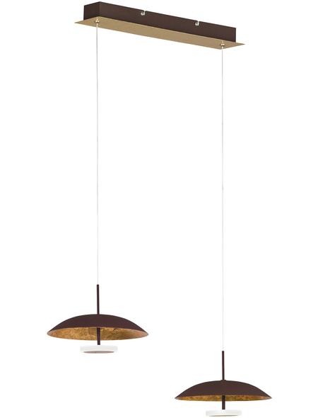 wofi® LED-Pendelleuchte goldfarben 2-flammig, inkl. Leuchtmittel in warmweiß