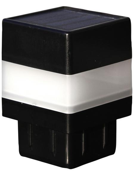 FLORAWORLD LED-Pfostenkappe, BxHxT: 4,65 x 6,85 x 4,65 cm, schwarz, für Vierkant-Zaunpfosten in 40 x 40 mm