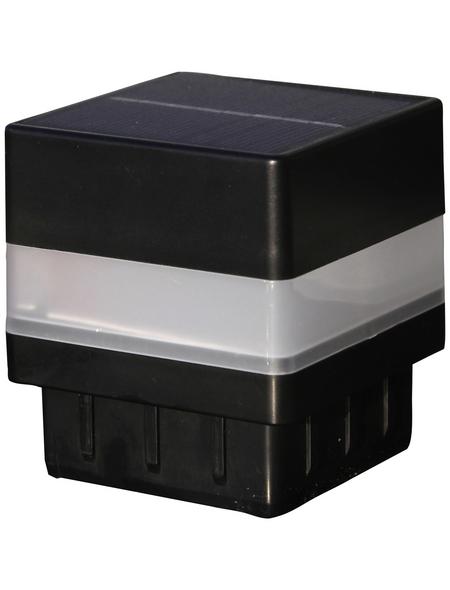 FLORAWORLD LED-Pfostenkappe, BxHxT: 6,55 x 7,1 x 6,55 cm, schwarz, für Vierkant-Zaunpfosten in 60 x 60 mm