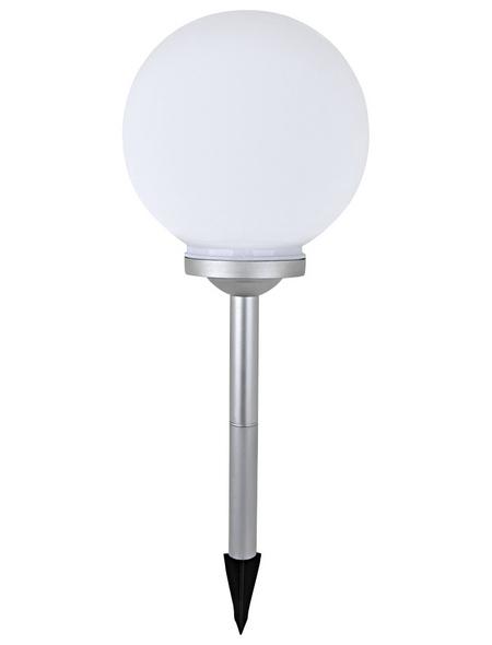 CASAYA LED-Solarleuchte, kugelförmig, grau/weiß