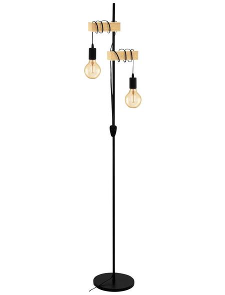 EGLO LED-Stehleuchte »TOWNSHEND« schwarz/braun, 2-flammig, H: 166,5 cm, E27 ohne Leuchtmittel