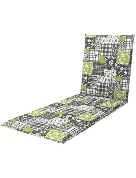 DOPPLER Liegenauflage »Living«, grau/grün, Floral, BxL: 60 x 195 cm