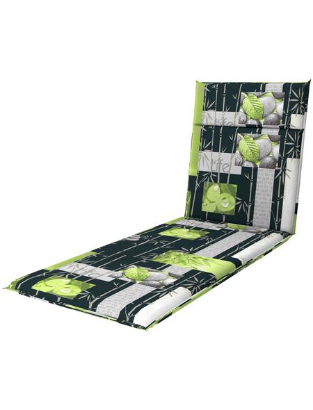 DOPPLER Liegenauflage »Spirit«, grün/grau, stein/blaetter, BxL: 60 x 195 cm