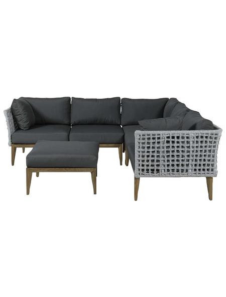 GARDEN IMPRESSIONS Lounge-Gartenmöbel »Rope, Teak«, 6 Sitzplätze, inkl. Auflagen, aus Teakholz