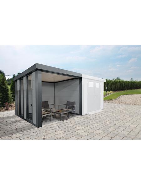 WOLFF FINNHAUS Loungeanbau »Eleganto Lounge + 2 Fenster L Lichtgrau«