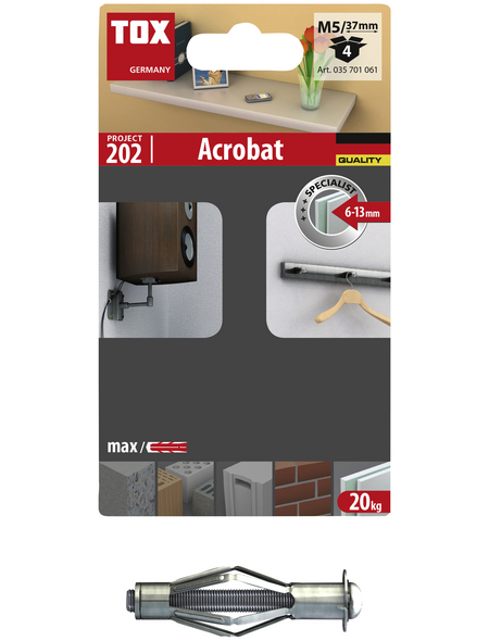 TOX Metall - Hohlraumdübel, Stahl | verzinkt, 4 Stück, 10 x 37 mm