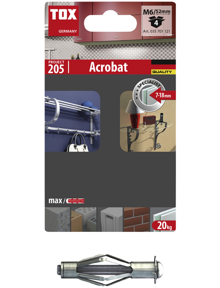 TOX Metall - Hohlraumdübel, Stahl | verzinkt, 4 Stück, 12 x 52 mm