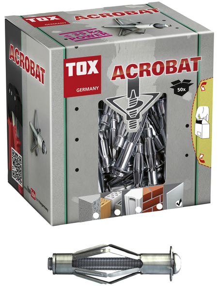 TOX Metall - Hohlraumdübel, Stahl | verzinkt, 50 Stück, 10 x 37 mm