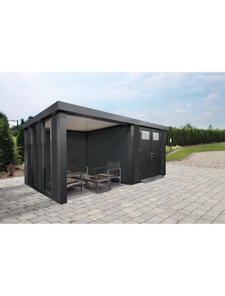 WOLFF FINNHAUS Metallgerätehaus »Eleganto 2724«, 29,2 m³, BxT: 552 x 238 cm mit Lounge