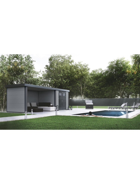 WOLFF FINNHAUS Metallgerätehaus »Eleganto 3024«, 15,8 m³, BxT: 582 x 238 cm mit Lounge