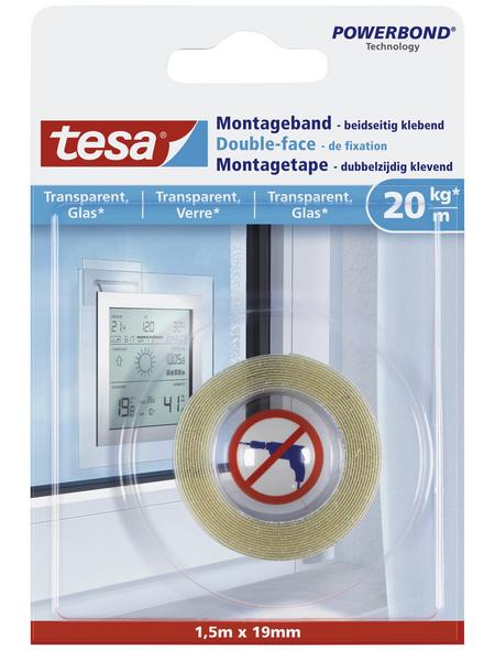 TESA Montageband, transparent, Breite: 1,9 cm, Länge: 1,5 m