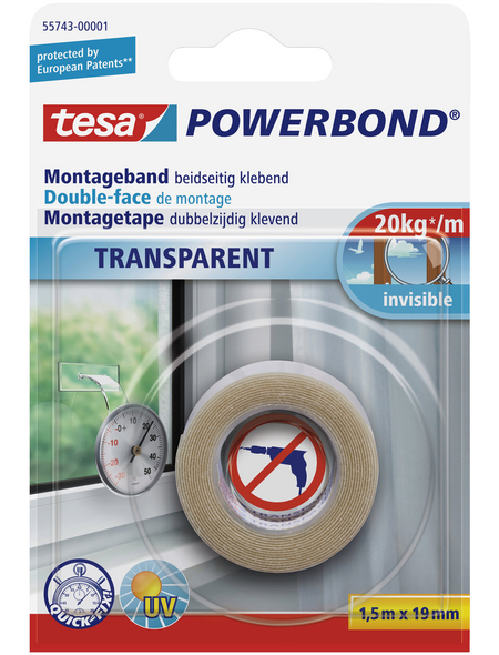 TESA Montageband, transparent, BxL: 1,9 x 150 cm