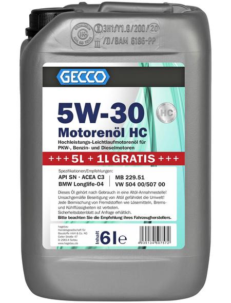 GECCO Motoröl »5W-30«, 6 l, Kanister, für PKW-, Benzin- und Dieselmotoren