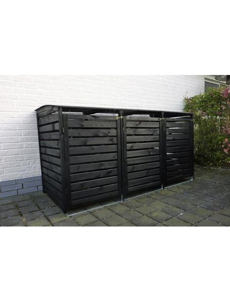PROMADINO Mülltonnenbox »Vario III«, Kiefernholz, anthrazit, BxHxT: 219 x 122 x 92 cm