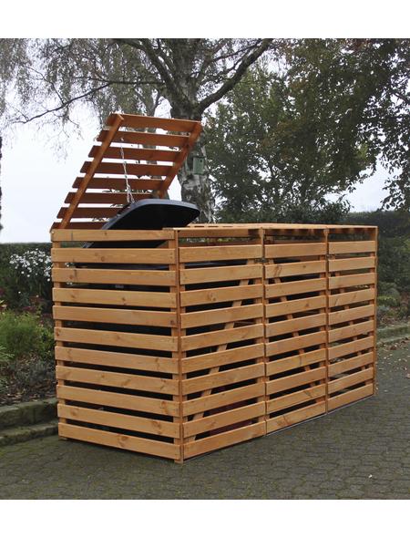PROMADINO Mülltonnenbox »Vario«, Kiefernholz, honigbraun, BxHxT: 219 x 122 x 92 cm
