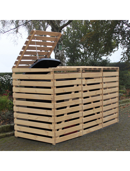 PROMADINO Mülltonnenbox »Vario«, Kiefernholz, natur, BxHxT: 219 x 122 x 92 cm