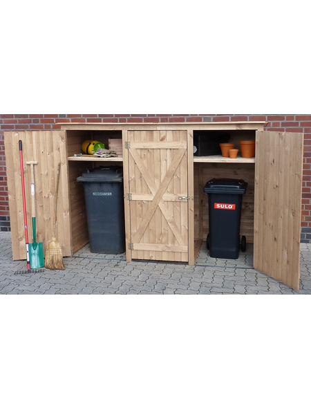PROMADINO Mülltonnenschrank, aus Holz, 238x161x101cm (BxHxT), 2.900 Liter