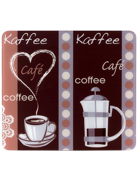 WENKO Multi-Platte »Kaffeeduft«, BxHxL: 56 x 0,5 x 50 cm, Glas/Silikon, mehrfarbig/transparent