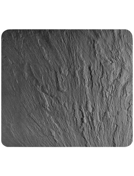 WENKO Multi-Platte »Schiefer«, BxHxL: 56 x 0,5 x 50 cm, Glas/Silikon, schiefergrau