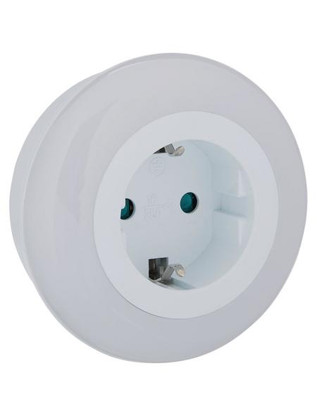 REV Nachtlicht, 1 W, Weiß, mit Dämmerungsautomatik u. Steckdose, 1-flammig, 8,5 x 8 cm