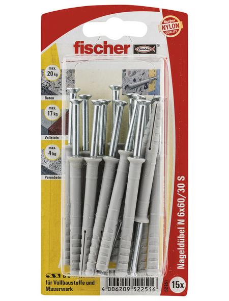 FISCHER Nageldübel, 15 Stück, 6 x 60 mm