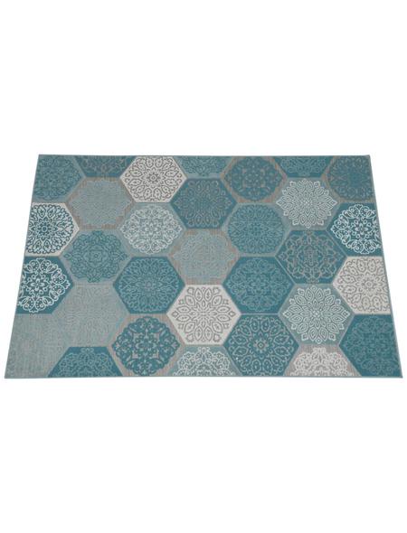 GARDEN IMPRESSIONS Outdoor-Teppich »Hexagon«, BxL: 170 x 120 cm, türkis/weiß/grau