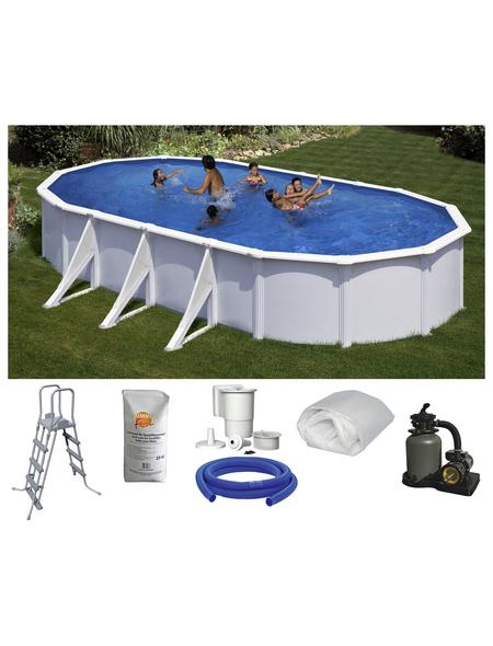 SUMMER FUN Ovalpool-Set Ovalformbeckenset , oval, BxLxH: 375 x 730 x 120 cm
