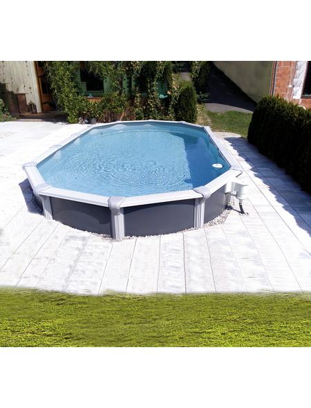 KWAD Ovalpool Set »Steely Supreme Design «, oval, BxLxH: 370 x 730 x 132 cm