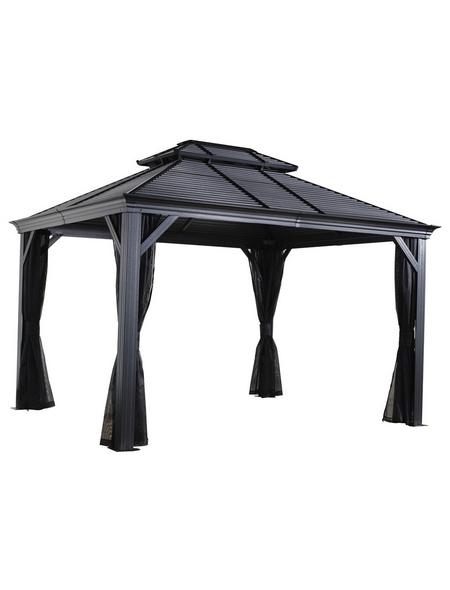 SOJAG Pavillon »Mykonos«, walmdach|stufendach, rechteckig, BxT: 364 x 364 cm, inkl. Dacheindeckung