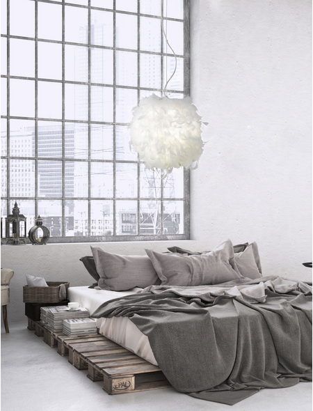 wofi® Pendelleuchte weiß 60 W, 1-flammig, E27, ohne Leuchtmittel