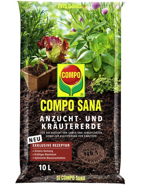 COMPO Pflanzenerde, 10 l, geeignet für: Setzlinge, Sämereien, Kräuter