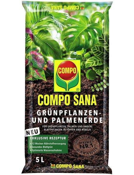 COMPO Pflanzenerde, 5 l, geeignet für: Immergrüne Zimmer- und Balkonpflanzen