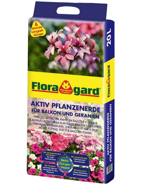 FLORAGARD Pflanzenerde »Aktiv«, für Geranien und Balkonpflanzen