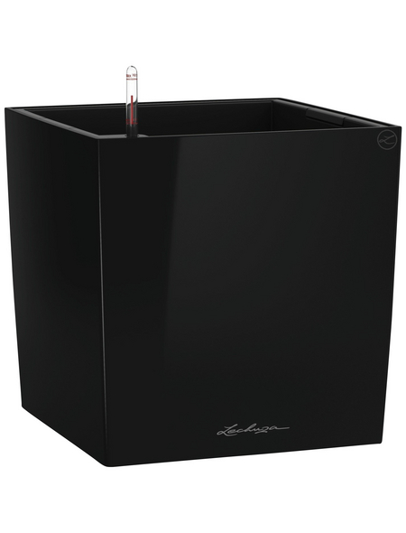 LECHUZA Pflanzgefäß »CUBE«, BxHxT: 30 x 30 x 31,5 cm, schwarz hochglanz
