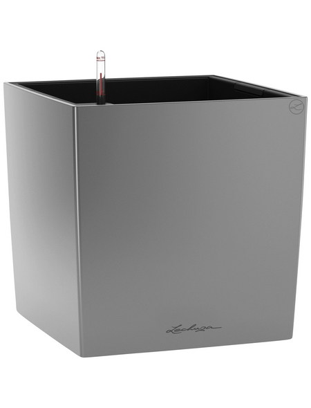 LECHUZA Pflanzgefäß »CUBE«, BxHxT: 50 x 50 x 50,5 cm, silber-metallic