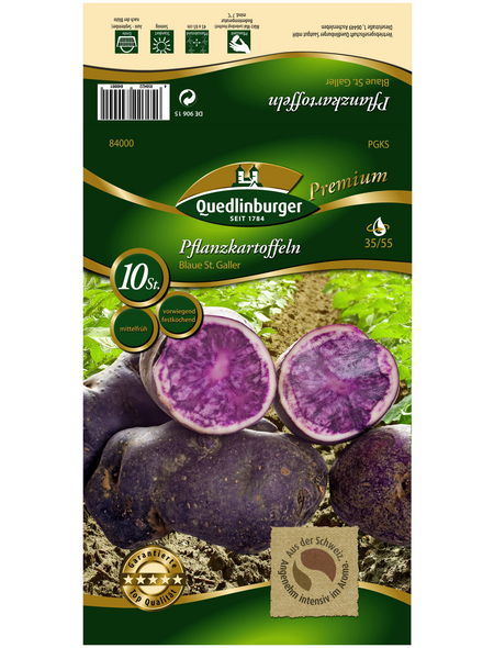 Quedlinburger Pflanzkartoffel, Solanum tuberosum »Blaue St Galler «, 10 Stück