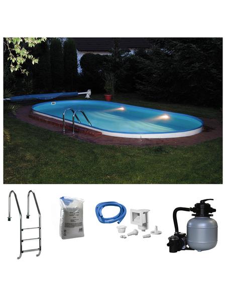 Pool-Set,  oval, B x L x H: 350 x 700 x 120 cm