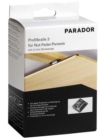 PARADOR Profilkralle, für Nut-Feder-Paneele, K 300, 3 mm, 125 Stück