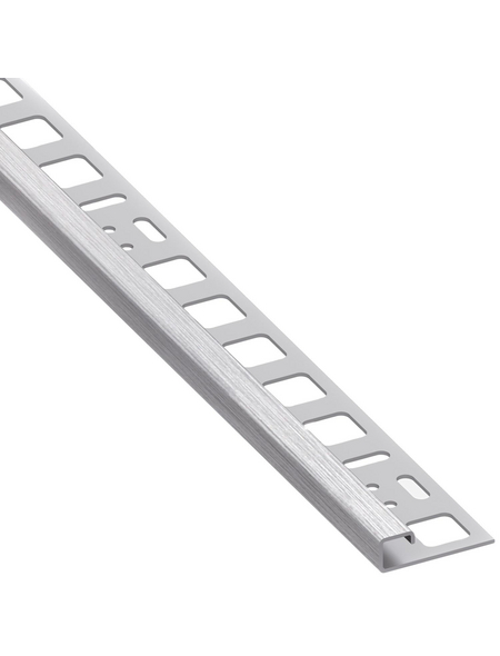 alfer® aluminium Quadrat-Profil, BxHxL: 2 x 1 x 250cm, Edelstahl