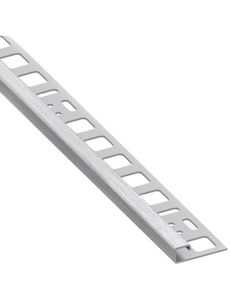 alfer® aluminium Quadrat-Profil, BxHxL: 2 x 1.25 x 250cm, Edelstahl