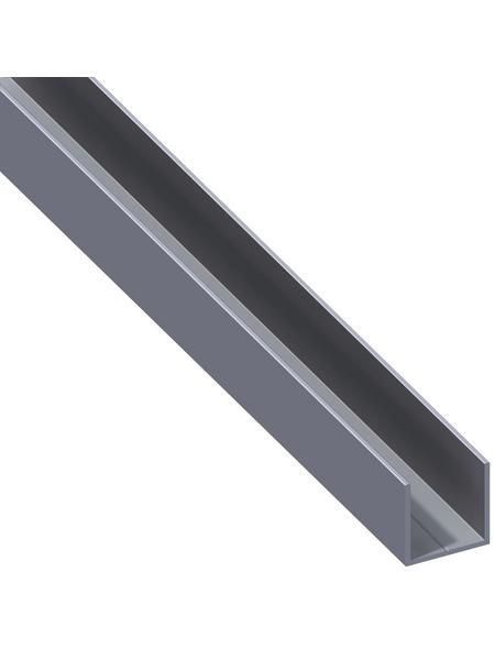 alfer® aluminium Quadrat-U-Profil, Combitech®, LxBxH: 2500 x 19,5 x 19,5 mm, Aluminium