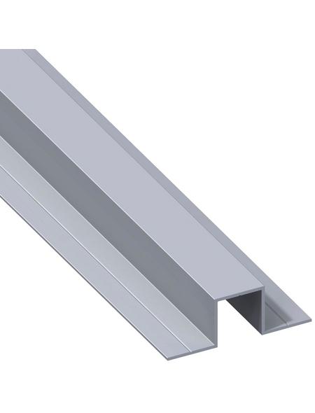 alfer® aluminium Quadrat-U-Profil, LxBxH: 1000 x 20,5 x 7,5 mm, Aluminium