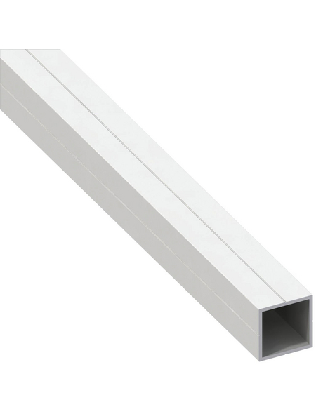 alfer® aluminium Quadratrohr, Combitech®, 1002 x 11,5 x 11,5 x 1,5 mm, Weiß, PVC