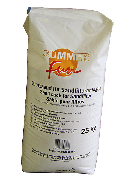 SUMMER FUN Quarzsand aus Sand, 0,4 - 0,8 mm, 25 kg