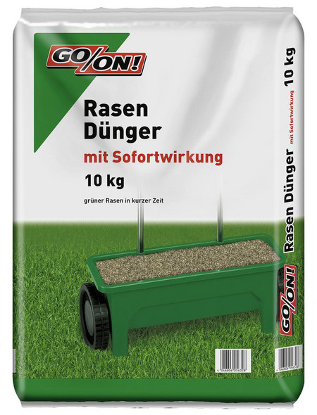 GO/ON! Rasendünger, 10 kg, für 300 m², schützt vor Nährstoffmangel