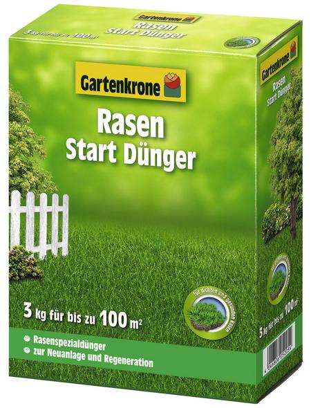 GARTENKRONE Rasendünger, 3 kg, für 100 m², schützt vor Nährstoffmangel