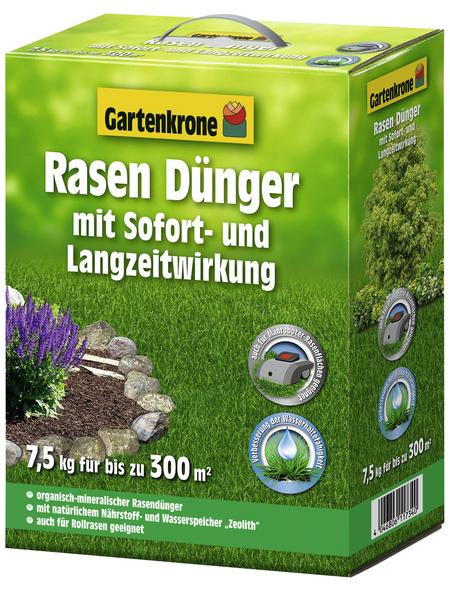 GARTENKRONE Rasendünger, 7,5 kg, für 300 m², schützt vor Nährstoffmangel