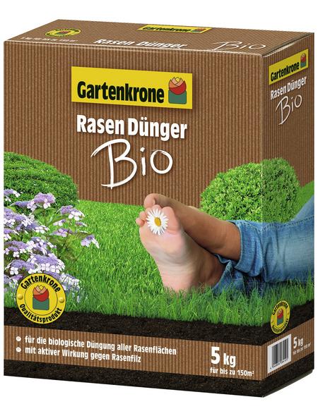 GARTENKRONE Rasendünger »Bio«, 5 kg, für 150 m², schützt vor Nährstoffmangel