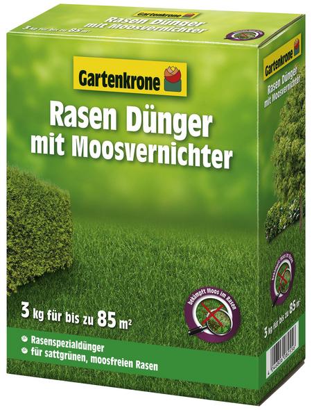 GARTENKRONE Rasendünger & Moosvernichter, 3 kg, für 85 m², schützt vor Moos