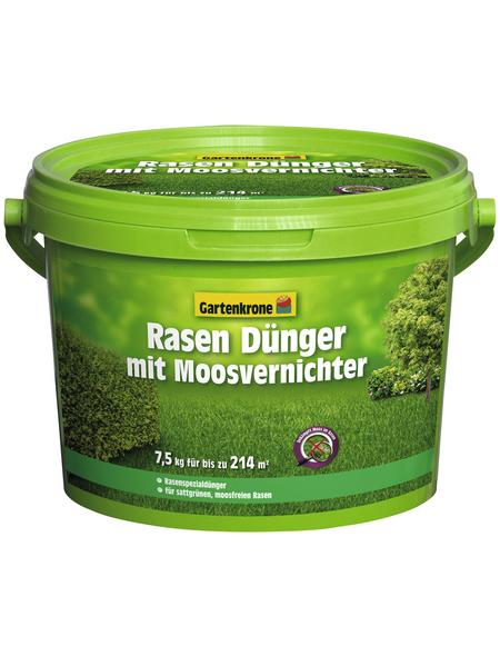 GARTENKRONE Rasendünger & Moosvernichter, 7,5 kg, für 214 m², schützt vor Moos